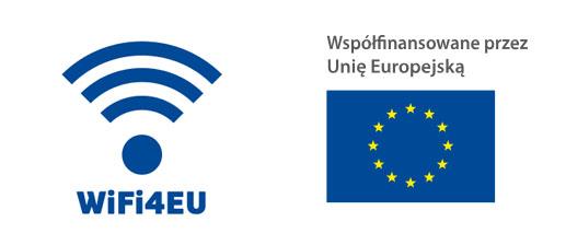 Logotypy programu WIFI4EU oraz Unii Europejskiej z napisem Wspołfinansowane przez Unię Europejską