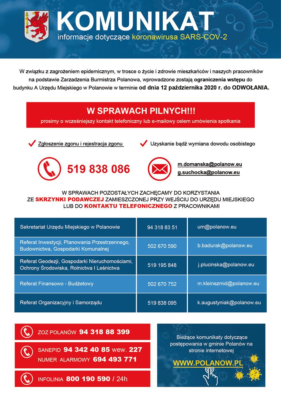 Komunikat - informacje o ograniczeniu funkcjonowania Urzedu Miejskiego w Polanowie w zwiazku z koronawirusem